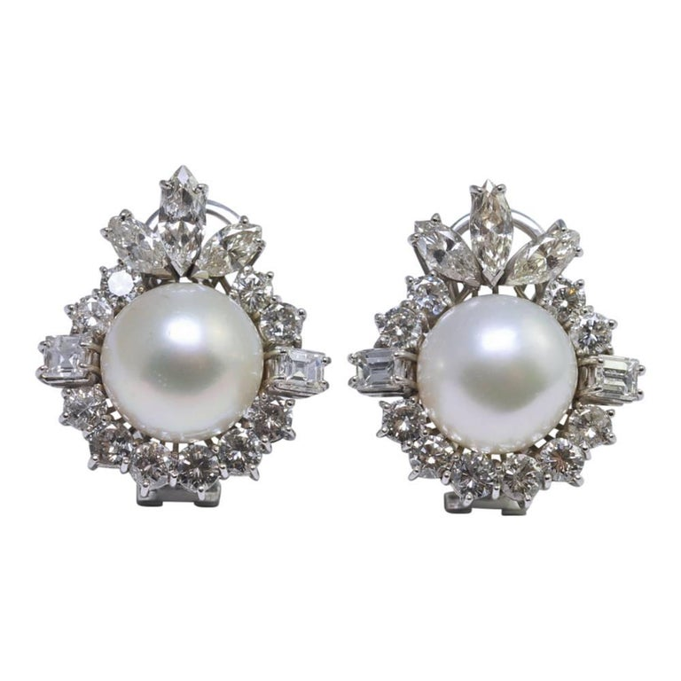 South Sea Pearl Diamond Gold Earrings