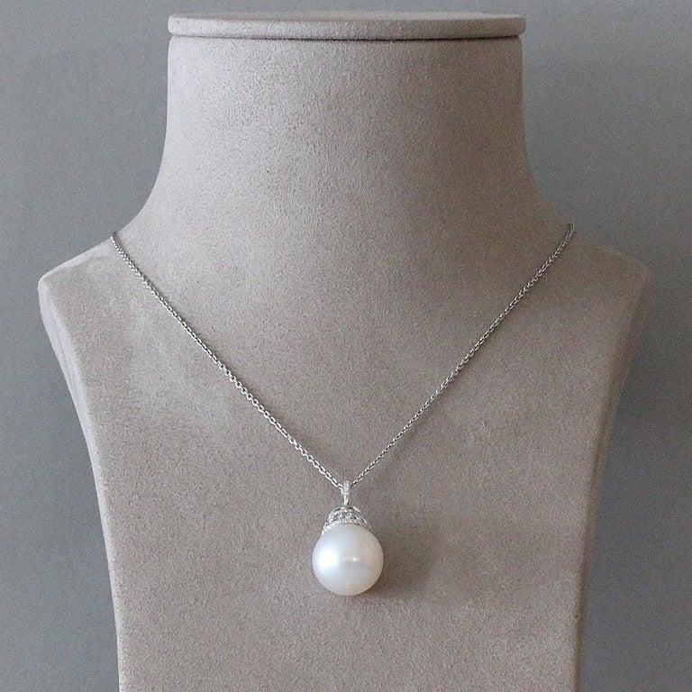 Women's South Sea Pearl Diamond Gold Pendant For Sale