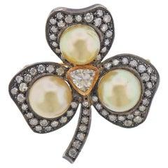 South Sea Pearl Diamond Gold Silver Shamrock Clover Brooch