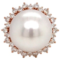 South Sea Pearl Diamond Halo Floral Ring 0.98 Carat 18 Karat Rose Gold