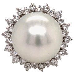 South Sea Pearl Diamond Halo Floral Ring 0.98 Carat 18 Karat White Gold