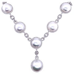 South Sea Pearl Diamond Halo Link Drop Necklace 4.20 Carat 18 Karat