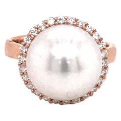 South Sea Pearl Diamond Halo Ring 0.32 Carat 18 Karat Rose Gold