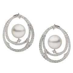 South Sea Pearl Diamond Hoop Earrings