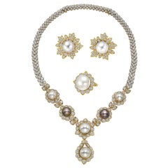South Sea Pearl & Diamond Jewelry Suite