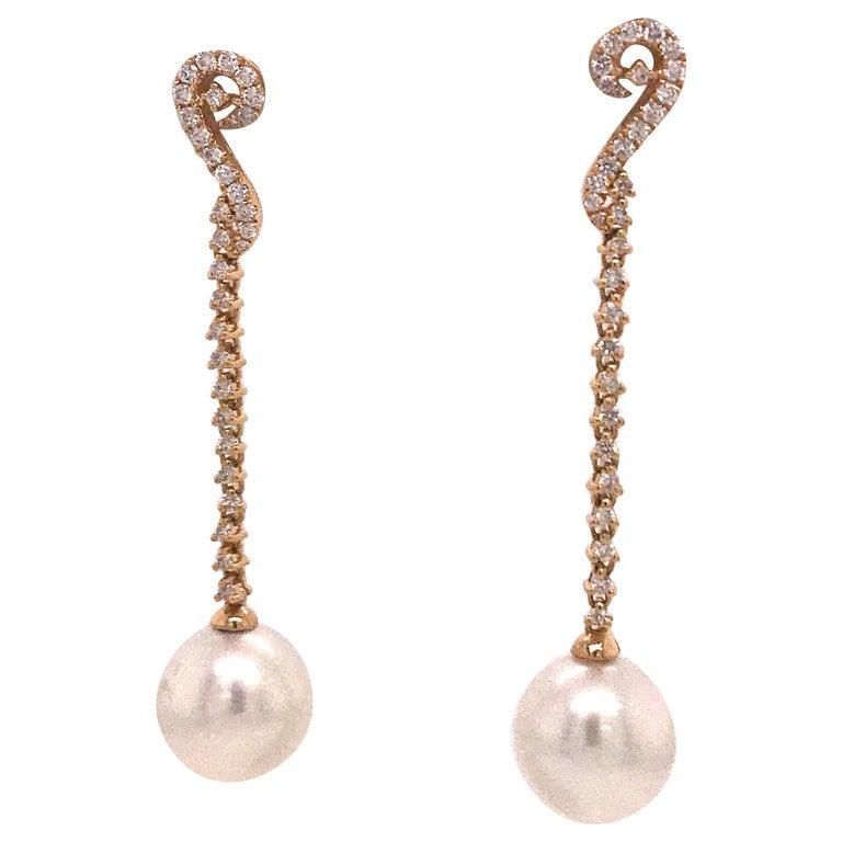 South Sea Pearl Diamond Long Drop Earrings 0.52 Carat 18 Karat White Gold For Sale