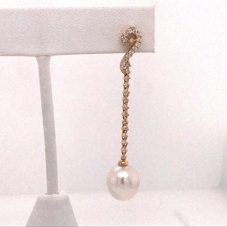 Contemporary South Sea Pearl Diamond Long Drop Earrings 0.52 Carat 18 Karat White Gold For Sale