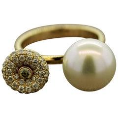 South Sea Pearl Diamond Pavé Gold Ring