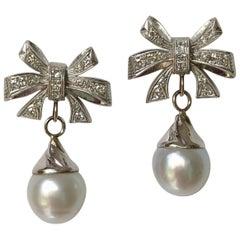 South Sea Pearl Diamond Platinum and 18 Karat Gold Drop Earrings