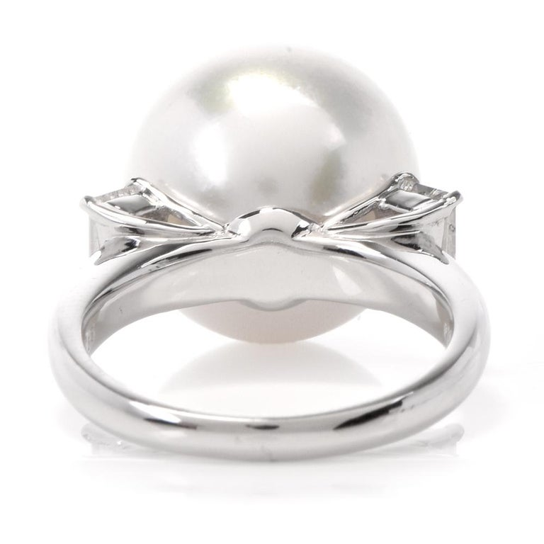 South Sea Pearl Diamond Platinum Cocktail Ring For Sale 1
