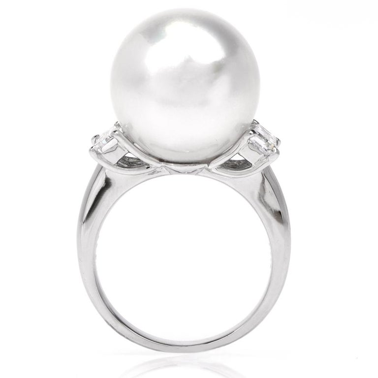 South Sea Pearl Diamond Platinum Cocktail Ring For Sale 2
