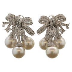 South Sea Pearl Diamond Ribbon Gold Spray Earrings