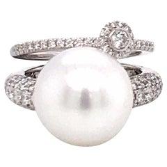South Sea Pearl Diamond Ring in One 1.28 Carat 18 Karat White Gold