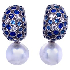 South Sea Pearl Diamond Sapphire Dome Drop Earrings 6.96 Carat 18K White Gold