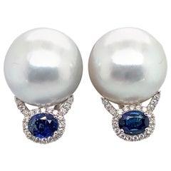 HARBOR D. South Sea Pearl Diamond Sapphire Drop Earrings 0.99 Carat