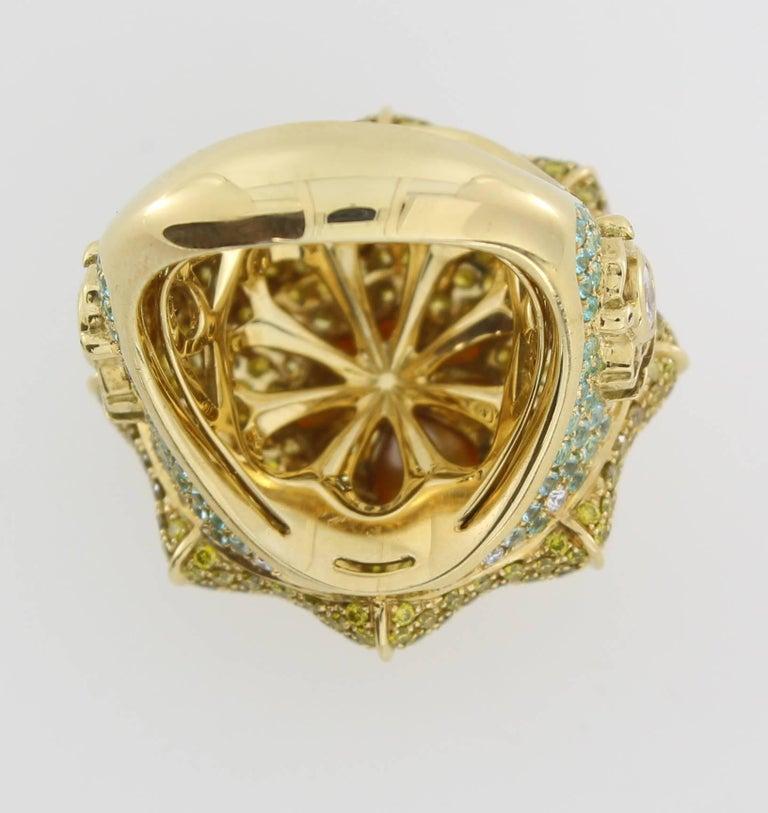 Women's or Men's South Sea Pearl Diamond Sapphire Paraiba Tourmaline Cocktail Ring For Sale