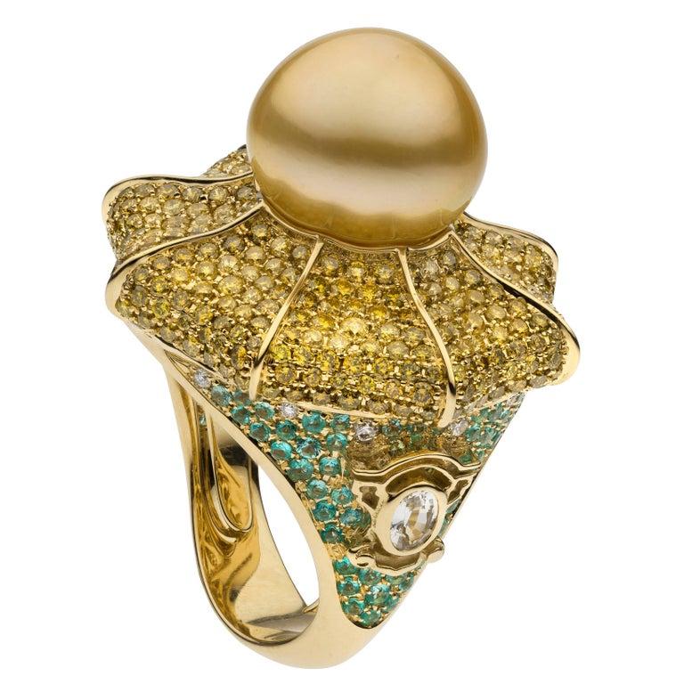 South Sea Pearl Diamond Sapphire Paraiba Tourmaline Cocktail Ring For Sale
