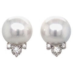 South Sea Pearl Diamond Stud Earrings 0.34 Carat 18 Karat White Gold