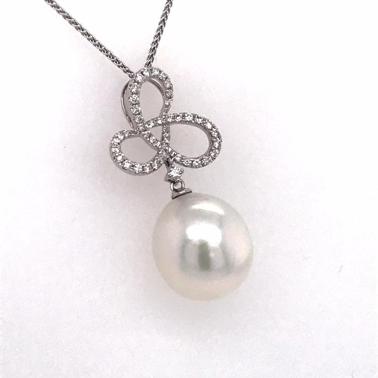 Contemporary South Sea Pearl Diamond Swiral Pendant 0.36 Carat 18 Karat White Gold For Sale