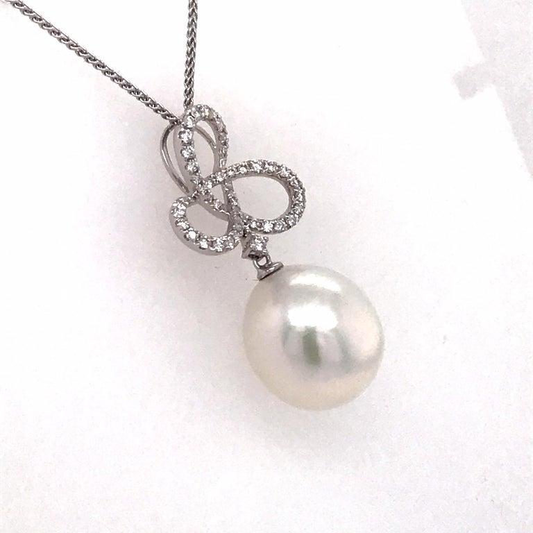 Round Cut South Sea Pearl Diamond Swiral Pendant 0.36 Carat 18 Karat White Gold For Sale