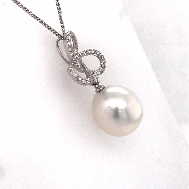 South Sea Pearl Diamond Swiral Pendant 0.36 Carat 18 Karat White Gold In New Condition For Sale In New York, NY