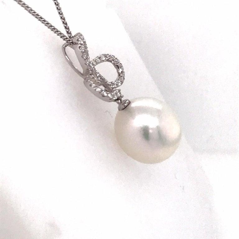 Women's South Sea Pearl Diamond Swiral Pendant 0.36 Carat 18 Karat White Gold For Sale