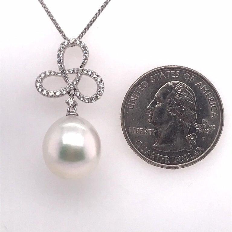 South Sea Pearl Diamond Swiral Pendant 0.36 Carat 18 Karat White Gold For Sale 1