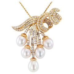 South Sea Pearl Diamond Yellow Gold Brooch Pendant