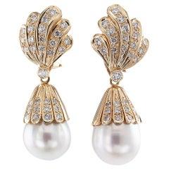 South Sea Pearl Diamond Yellow Gold Day into Night Drop Earrings