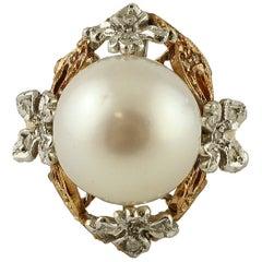 South Sea Pearl, Diamonds, 14 Karat Rose Gold Retro Ring