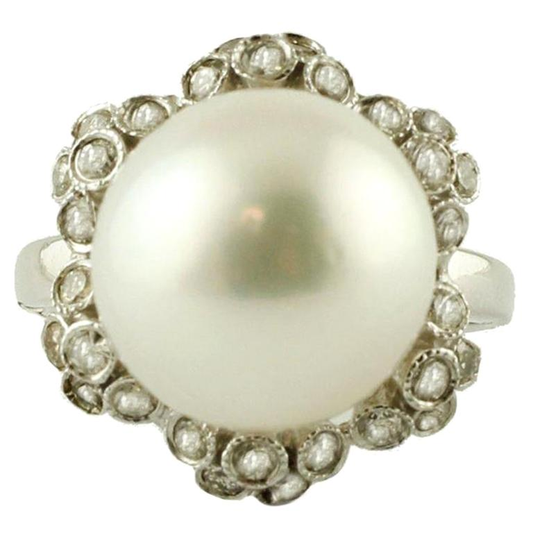 South Sea Pearl, Diamonds, 14 Karat White Gold, Ring