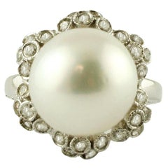 South Sea Pearl, Diamonds, 14 Karat White Gold, Ring
