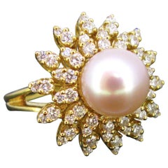 South Sea Pearl Diamonds Flower Yellow Gold Cluster Ring