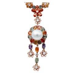 South-Sea Pearl, Diamonds, Multicolor Sapphires, 14 Karat Rose Gold Necklace