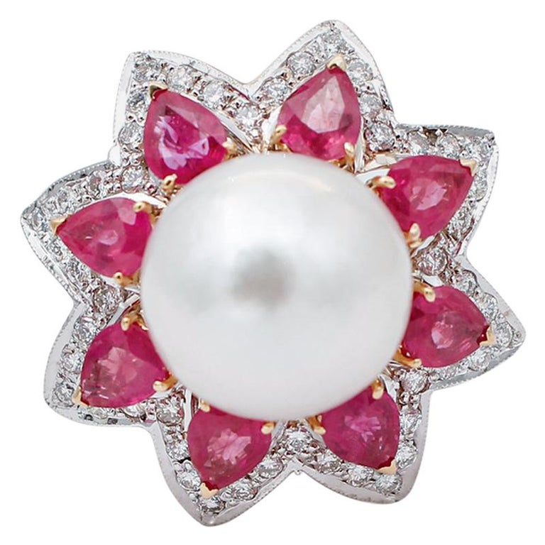 South-Sea Pearl, Diamonds, Rubies, 14 Karat White and Yellow Gold Ring For Sale