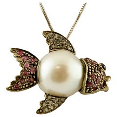South Sea Pearl, Diamonds, Rubies, 9 Karat Gold and Silver Vintage Fish Pendant
