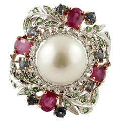 South Sea Pearl Diamonds Rubies Sapphires Tsavorites Yellow and White Gold Ring