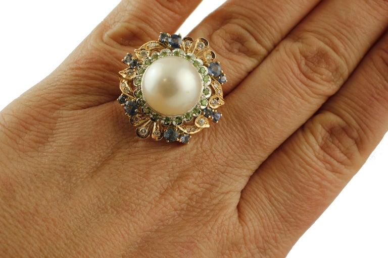 Women's South Sea Pearl, Diamonds, Sapphires, Tsavorite, 14 Karat Rose & White Gold Ring For Sale