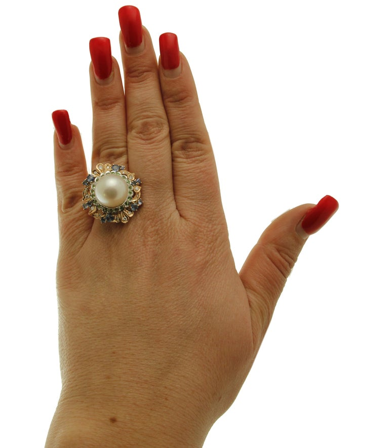 South Sea Pearl, Diamonds, Sapphires, Tsavorite, 14 Karat Rose & White Gold Ring For Sale 1