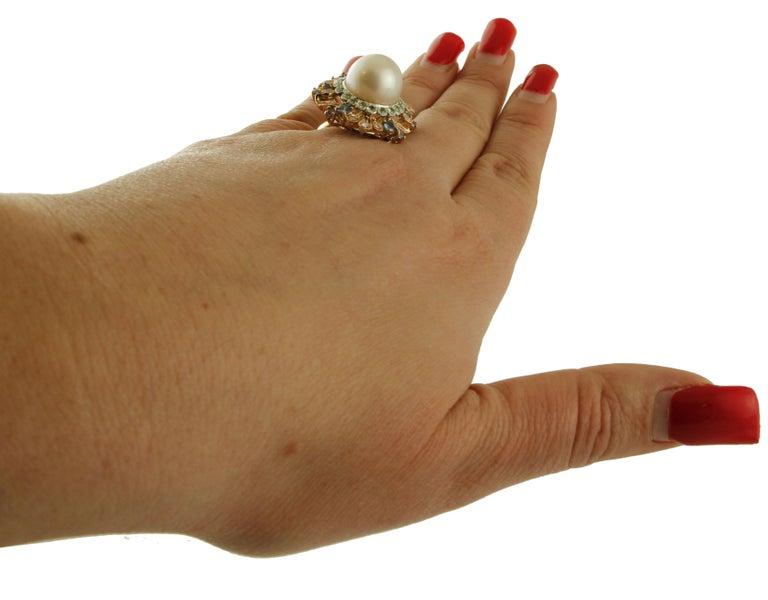 South Sea Pearl, Diamonds, Sapphires, Tsavorite, 14 Karat Rose & White Gold Ring For Sale 2