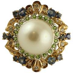 South Sea Pearl, Diamonds, Sapphires, Tsavorite, 14 Karat Rose & White Gold Ring