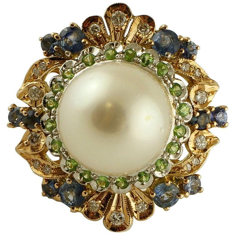 South Sea Pearl, Diamonds, Sapphires, Tsavorite, 14 Karat Rose & White Gold Ring For Sale