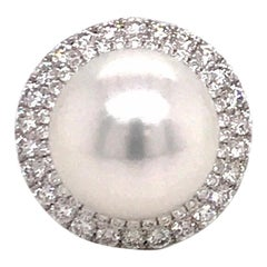 South Sea Pearl Double Diamond Halo Ring 1.16 Carat 18 Karat White Gold