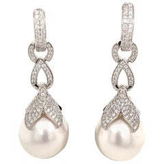 South Sea Pearl Drop/Huggie Earrings 0.77 Carat 18 Karat White Gold