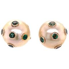South Sea Pearl Emerald Earrings 18k Gold Certified