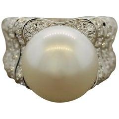 South Sea Pearl Half Circle Diamond Gold Ring