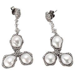 South Sea Pearl Icy and White Diamond Gold Earrings