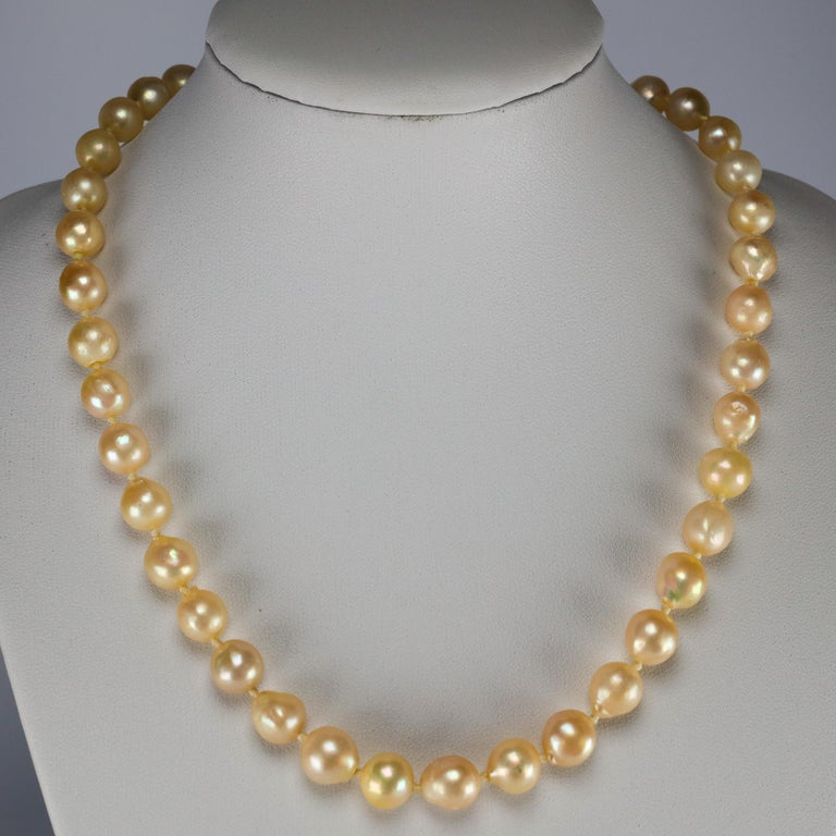 South Sea pearls were not cultured on a grand scale until the late 1950s, early 1960s. This necklace dates from the early days of cultured South Sea pearls, which makes it very special to me. Composed of forty 8.5mm - 9.5mm off-round or semi-baroque