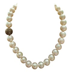 South Sea Pearl Necklace with Champagne Colored Diamond Clasp