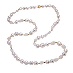 BELPEARL South Sea Pearl Necklace with Moonstone in 18 Karat Gold